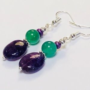 Bright Green Agate & Dark Purple Amethyst Earrings